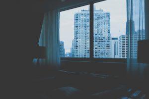 hotel, bedroom, window